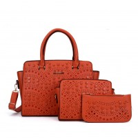 SY5028 Orange - Solid Hollow Trapeze Fashion Women Handbag & Purses Set