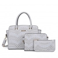 SY5028 White - Solid Hollow Trapeze Fashion Women Handbag & Purses Set