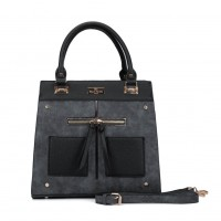 SY5030 Black - Women Patchwork Metal Decoration Handbag