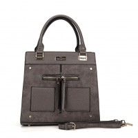 SY5030 Taupe - Women Patchwork Metal Decoration Handbag