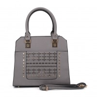 SY5031 Grey - Women Solid Hollow Rivet Handbage