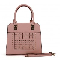 SY5031 Pink - Women Solid Hollow Rivet Handbage