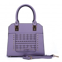 SY5031 Purple - Women Solid Hollow Rivet Handbage