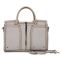 SY5032 Beige - Classic Women Casual Patchwork Handbag