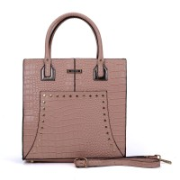 SY5033 Pink - Women Solid Crocodile Pattern Handbag