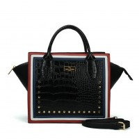 SY5038 Black - Women Crocodile Pattern Rivets Square Handbag