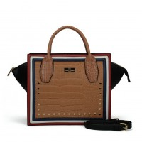 SY5038 Brown - Women Crocodile Pattern Rivets Square Handbag