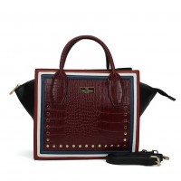 SY5038 Red - Women Crocodile Pattern Rivets Square Handbag