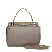 SY5039 Grey - Diamante Elegant Solid Women Fashion Handbag