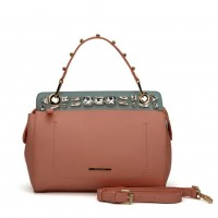 SY5039 Pink - Diamante Elegant Solid Women Fashion Handbag
