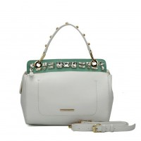 SY5039 White - Diamante Elegant Solid Women Fashion Handbag