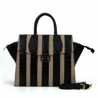 SY5043 Apricot - Striped Patchwork Women Fashion Handbag