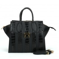 SY5043 Black - Striped Patchwork Women Fashion Handbag
