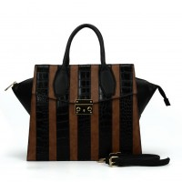 SY5043 Brown - Striped Patchwork Women Fashion Handbag