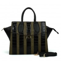 SY5043 Green - Striped Patchwork Women Fashion Handbag