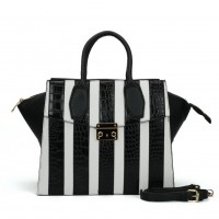 SY5043 White - Striped Patchwork Women Fashion Handbag