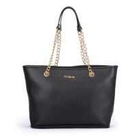 SY5044 Black - Winged Tote Bag With Chain Straps