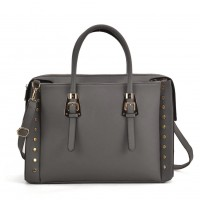 SY5045 Grey - Fashion Tote Bag With Metal Detail