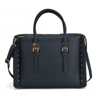 SY5045 Navy - Fashion Tote Bag With Metal Detail