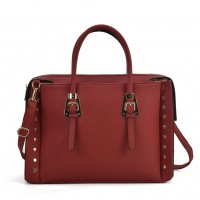 SY5045 Red - Fashion Tote Bag With Metal Detail