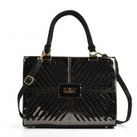 SY5046 Black - Cutabout Metallic Tote Bag With Metal Detail