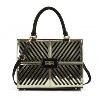 SY5046 Gold - Cutabout Metallic Tote Bag With Metal Detail