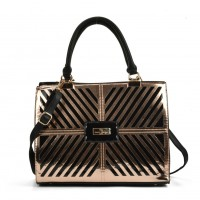 SY5046 Pink - Cutabout Metallic Tote Bag With Metal Detail