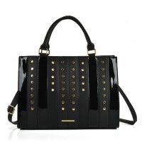 SY5047 Black - Patchwork Studded Oversized Tote Bag