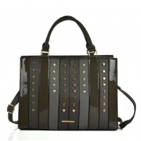 SY5047 Grey - Patchwork Studded Oversized Tote Bag