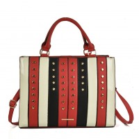 SY5047 Red - Patchwork Studded Oversized Tote Bag