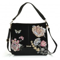 SY5048 Black - Underarm Slouch Bag With Embroidery