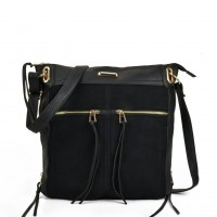 SY5049 Black - Zip Front Suede Messenger Bag