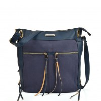 SY5049 Navy - Zip Front Suede Messenger Bag