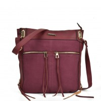 SY5049 Purplish Red - Zip Front Suede Messenger Bag