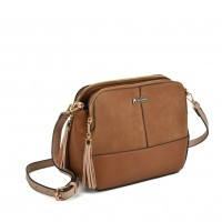 SY5050 Tan - Triple Compartment Cross Body Bag With Tassels