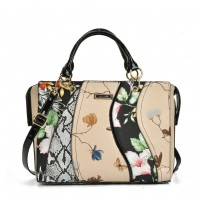 SY5051 Black - Patchwork Tote Bag With Floral Detail