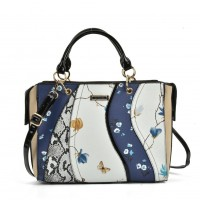 SY5051 Navy - Patchwork Tote Bag With Floral Detail