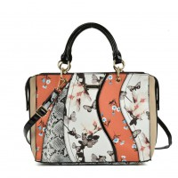 SY5051 Orange - Patchwork Tote Bag With Floral Detail