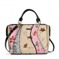 SY5051 Pink - Patchwork Tote Bag With Floral Detail