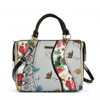 SY5051 White - Patchwork Tote Bag With Floral Detail