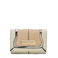 SY5052 Beige - Short Wallet With Geometric Pattern