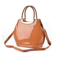VK1325-4 Brown - Bright Solid Smooth Women Shell Handbags