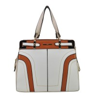 Vk1645-2 White - Colorful Patchwork Thread Women Handbags