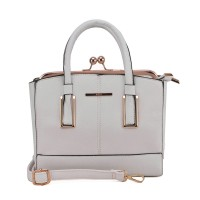 VK1647-1 White - Gold Metal Frame Handbag with Twist Lock