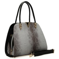 VK1662-1 Grey - Fashion Crocodile Pattern Women Handbag