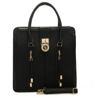 VK1690-1 Black - Two Zippers Vertical Handbag with Croco Detail