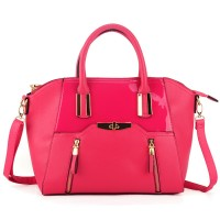 VK1718 Fushia - New Look Winged Handbag with Zipper and Metal Detail