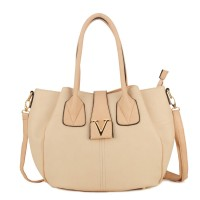 VK1736 Beige - Lady Style Handbag with Triple Compartment