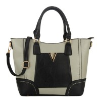 VK1737 Grey - Fashion Patchwork Handbag with Large Compartment