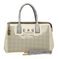 VK1738 Beige - Plaid Hollow Out Snakeskin Handle Women Handbag